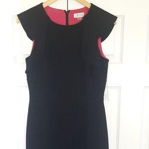 Tahari ASL Black Ruffled Sheath Dress